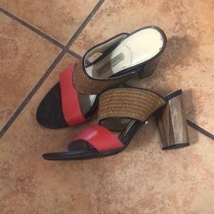 Dana Buchman slip-on Sandals RED TAN